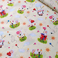 Хлопковая ткань с влюбленными овечками на светло-желтом фоне №394