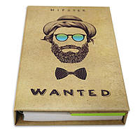 Блокнот со стикерами Post-it, в твердой обложке «Хіпстер», в комплекте с чехлом, фото 1