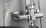 Душевая стойка для ванной со смесителем лейкой и верхним душем, фото 4