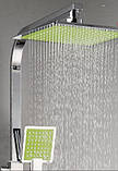 Душевая стойка для ванной со смесителем лейкой и верхним душем, фото 5