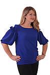 Блуза нарядная женская синяя с воланами и рюшами бл 004-2, фото 5