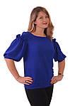 Блуза нарядная женская синяя с воланами и рюшами бл 004-2, фото 2