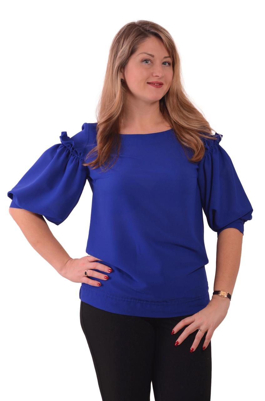Блуза нарядная женская синяя с воланами и рюшами бл 004-2