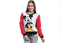 Свитшот красный с принтом Микки Маус