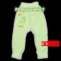 Штанишки на широкой резинке р. 80 ткань КУЛИР 100% тонкий хлопок ТМ Алекс 3178 Зеленый