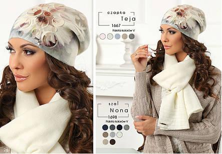 Модная теплая стильная шапочка из коллекции Betina Польша, фото 2
