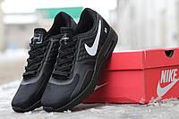 Мужские кроссовки Nike Zero, прес кожа, черные/ зимние кроссовки мужские Найк зеро, модные