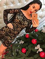 """Шикарная новинка! Модное, вечернее мини-платье """"Котон и кружево, открытые плечи, длинные рукава"""""""