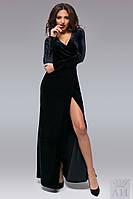 Черное бархатное платье в пол, на запах. Арт-9510/17