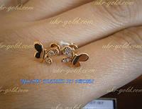Сережки-пуссети метелики з фіанітами