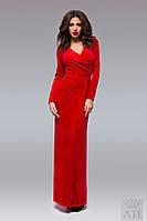 Красное  бархатное платье в пол, на запах. Арт-9510/17