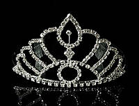 Диадема корона на металлическом обруче с гребешками, высота 7 см