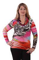 """Блуза теплая  с хомутом """"РАДУГА"""" 48-56 размеры 664-1 теплая"""