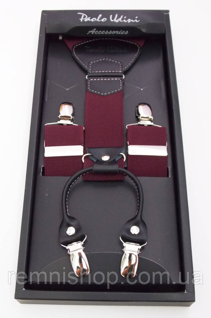Подтяжки бордовые мужские Paolo Udini на подарок