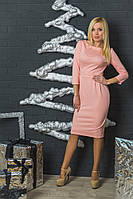 Женское трикотажное платье с бантиками персик