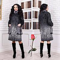 Женское зимнее пальто с меховыми карманами F 77996 тон 101