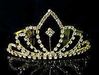 Диадема корона с гребешками, золотистая, высота 6 см