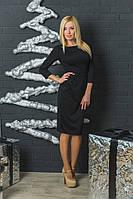 Женское трикотажное платье с бантиками черное