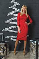 Женское трикотажное платье с бантиками красное