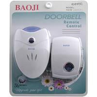 Радио звонок дверной на батарейках BAOJI 8519F DC: 12В/2хАА, 50/60 Гц радиус 100 м, 36 мелодий