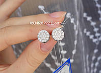 Серебряные гвоздики Круглые с россыпью камней