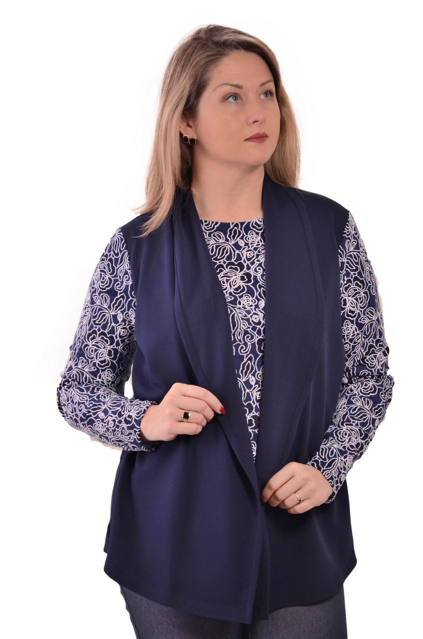 Блуза двойка синяя, кардиган  бл 052 размеры 50-54