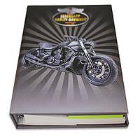 Блокнот со стикерами Post-it, твердой обложке «Harley Davidson» в комплекте с чехлом