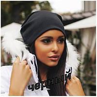 Женская шапка (двойной трикотаж) черная