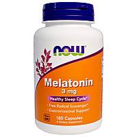 Мелатонин препарат для улучшения сна, Now Foods , 3 мг, 180 капсул