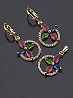 Серьги+Кулон 'XUPING' позолоченный 18К комплекты женской ювелирной бижутерии № 034845