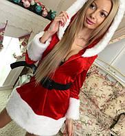 """Платье новогоднее """"Снегурочка"""" с капюшоном и отделкой мехом 147 (МАЛ)"""