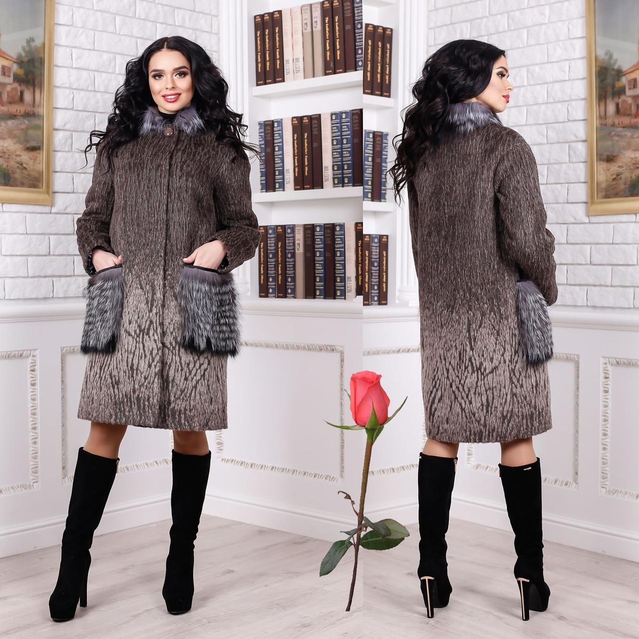 Женское зимнее пальто с меховыми карманами F 77996 тон  107