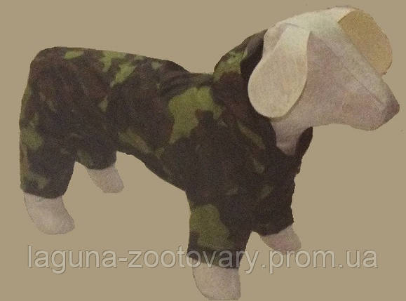 Дождевик - комбинезон КАМУФЛЯЖ №0 25/40см для собак с капюшоном, фото 2