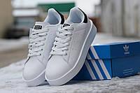 Женские кроссовки Adidas Stan Smith, пресс кожа, белые с черным/  кроссовки адидас женские, модные, удобные
