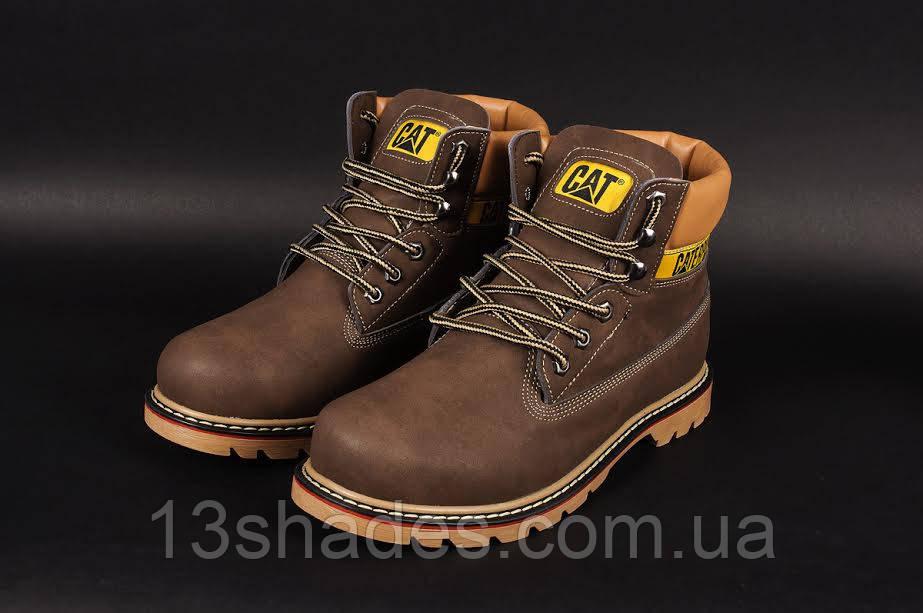 Мужские ботинки Caterpillar CAT высокие зимние (с мехом) (коричневые) -  Интернет- 41f0839d96e