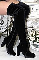 Ботфорты высокие на каблуке велюр черные 13935