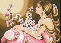 Канва с нанесенным рисунком Девушка и орхидеи