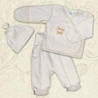 Костюм на выписку Ваву Мальчик Интерлок цвет белый, молочный размер 62-40, 56-38 Бетис