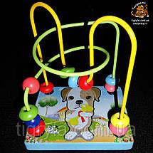 Пальчиковый лабиринт - деревянная логическая игрушка, деревянная серпантинка с бусинками, фото 3