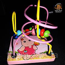 Пальчиковый лабиринт - деревянная логическая игрушка, деревянная серпантинка с бусинками, фото 2