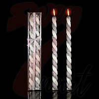 Свеча Спираль короткая Серебро, 40 см, диаметр - 3 см