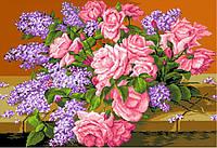 Канва с рисунком Розы и сирень