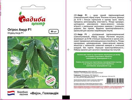 Семена огурца Амур F1 (Бейо/Bejo, САДЫБА ЦЕНТР), 50 семян — ультраранний гибрид (40-45 дней), партенокарпик , фото 2