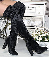 Ботфорты высокие черные на каблуке бархат код 13934