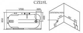 Гидромассажная ванна CRW CZI25L 1700х850х670 (Правая), фото 3