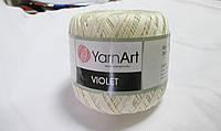 Пряжа Violet YarnArt 100% бавовна молочний  № 6282
