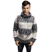 Мужской теплый свитер, серого с белым цвета