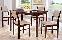 "Комплект ""Лорри"" (1+4) (КЗ беж) (шоколад браун), обеденный стол со стульями, обеденная группа"