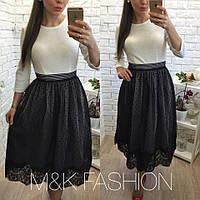 Женская стильная фатиновая пышная юбка