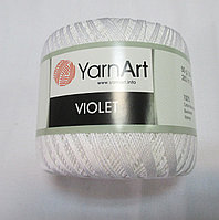 Пряжа нитки для вязания хлопковые Виолет Ярнарт Violet YarnArt 100% бавовна біла № 1000